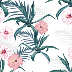 Beautiful vector floral seamless pattern background with agave, palm leaves and exotic hibiscus flowers. Perfect for wallpapers, web page backgrounds, surface textures, textile.