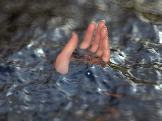hand floating in a liquid
