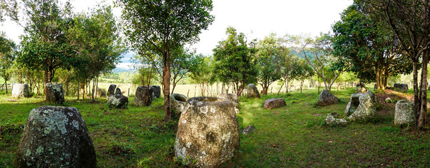 Panorama of the plain of jars site: 3.  Laos, Xiangkhoang Province.