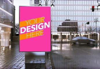 Advertising Kiosk in Downtown City Center Mockup