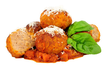 Large pork meatballs with tomato sauce isolated on a white background