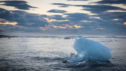 Floating Iceberg at Sunrise