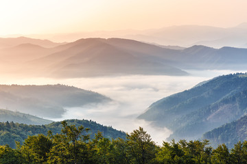 Gorgeous morning scene in high mountains. Fog soar over mountain villages. Panoramic aspect ration. Hiking or any outdoors activity background. Suitable for wallpapers on screen of digital device.