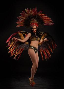 Woman in brazilian carnival costume.