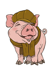 Pig in winter clothes hat and scarf, vector illustration