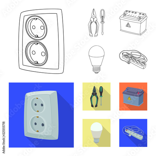 Isolated Object Of Electricity And Electric Symbol Set Of