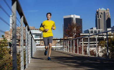 Man jogging in Birmingham, Alabama, USA