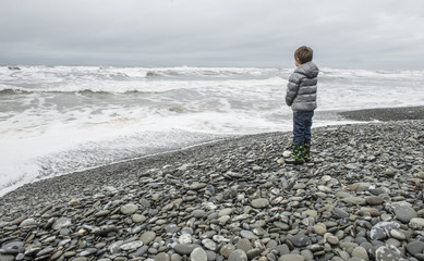 Boy looking at sea, Olympic National Park, Washington State, USA