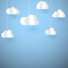 White paper decorative clouds on blue background.