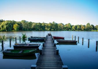 Junges Mädchen und ihr Hund sitzen gemeinsam auf einen Bootssteg und schauen einheitlich auf das Wasser. Standort: Deutschland, Nordrhein Westfalen,