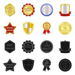 Vector illustration of emblem and badge sign. Set of emblem and sticker stock vector illustration.