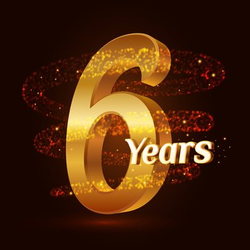 6 years golden anniversary 3d logo celebration with Gold glittering spiral star dust trail sparkling particles. Six years anniversary modern design elements. Vector Illustration.
