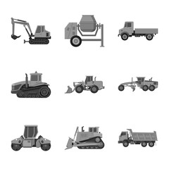 Isolated object of build and construction icon. Collection of build and machinery stock vector illustration.
