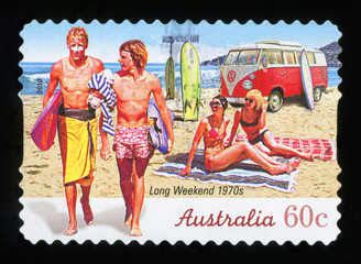 AUSTRALIA - CIRCA 2010: A stamp printed in australia shows long weekend 1970s, circa 2010