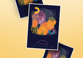 Event Flyer Layout with Abstract Illustrations