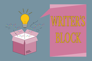 Conceptual hand writing showing Writer s is Block. Business photo showcasing Condition of being unable to think of what to write.
