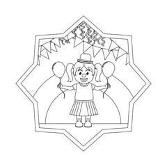 line clown girl with balloon and party flags inside star
