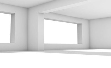 3d interior. White room with wide windows