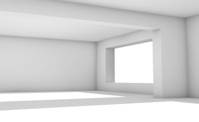 Empty white room with wide windows, 3d interior