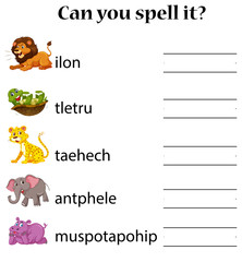 Animals spell word worksheet