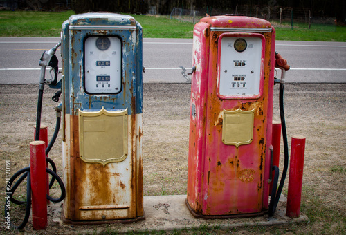 Vintage Gas pump with rustic coloration