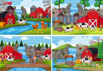 A set of rural farm landscape