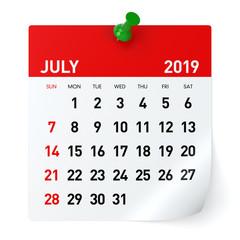 July 2019 - Calendar.