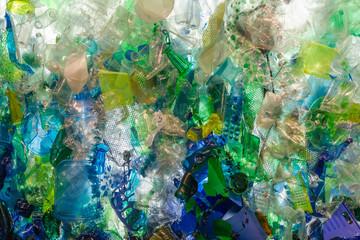 Blue & Green Plastic Trash Found in the Ocean