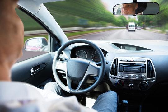 Man In Self Driving Car