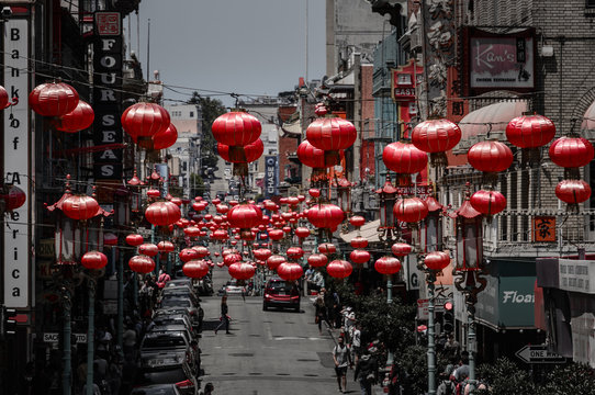 Chinatown In San Francisco With Chinese Lanterns Highlighted