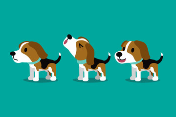 Set of vector cartoon character cute beagle dog poses for design.
