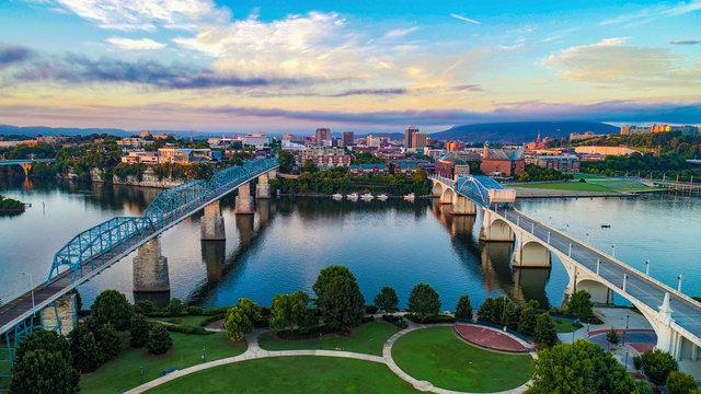 Aerial of Chattanooga Tennessee TN Skyline