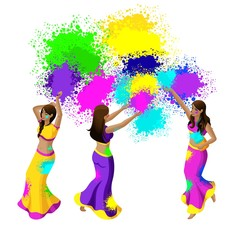 Isometry of indium, festival of colors beautiful girls throw colored powder, a holiday of spring, refreshments, drinks, happiness
