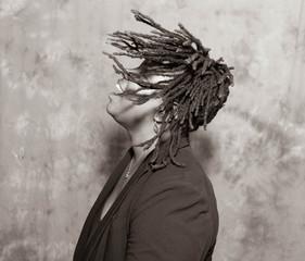 Lady with Hair Locks Black & White