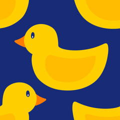 Seamless Pattern of  Rubber Duck Toy