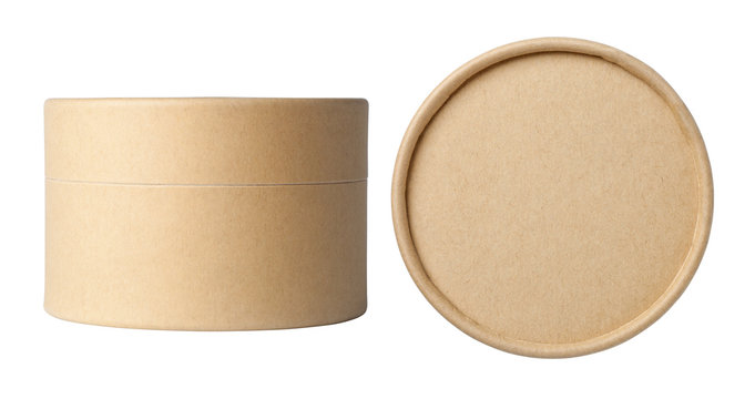 Round brown paper boxes isolated on white background