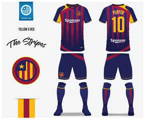Soccer jersey or football kit template for football club. Red and blue stripe football shirt with sock and blue shorts mock up. Front and back view soccer uniform. Football logo design. Vector.