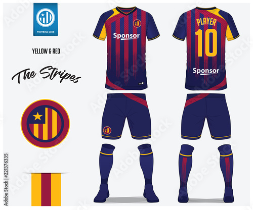 dd733164c Soccer jersey or football kit template for football club. Red and blue  stripe football shirt