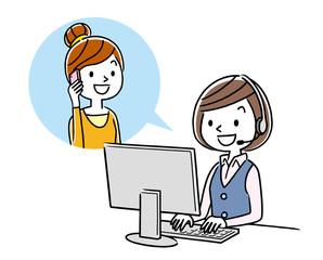 イラスト素材: コールセンター オペレーターの女性と会話