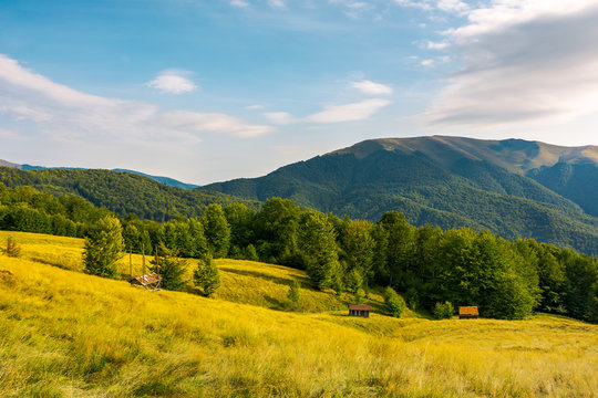 countryside in mountains. beautiful landscape with grassy alpine hills. abandoned woodshed and hay barrack on the meadow. mountain ridge in the distance