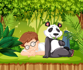 Panda and a young boy