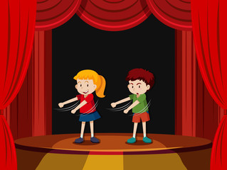 Two children on stage