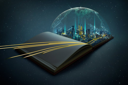 Night beautiful scene of modern city skyline pop up in the open book pages with smart relief covered system and complex luminous network of dynamic lights speed routes .