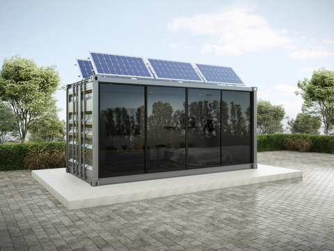 Container house with solar panels on the roof 3D render.