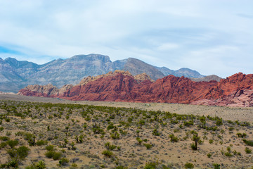 Limestone cliffs rise above the Calico HIlls in the Mojave Desert