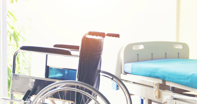 Wheelchairs waiting for patient services in the hospital