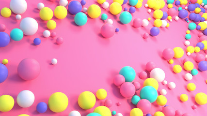 Sweet colorful balls on the pink floor. 3d rendering picture.