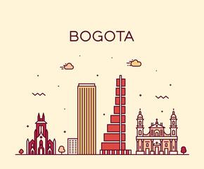 Fototapete - Bogota skyline Colombia Trendy vector linear city