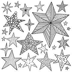 Gold stars and polka dots. Line vector set.