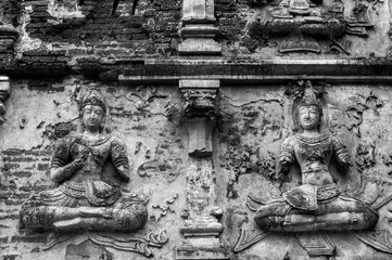 """Black and white  Photography : Historical attractions and historic sites in Thailand / """"Wat ched yod"""" Historic sites in Chiang Mai ,Thailand's major northern provinces"""